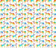Rainbow Watercolour Unicorns fabric by emmaallardsmith on Spoonflower - custom fabric. I made a children's quilt with this.