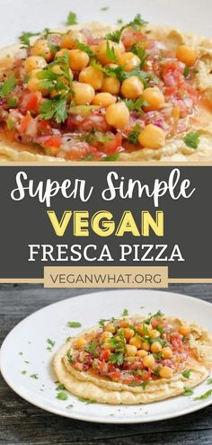 Who doesn't love hummus on a pita? AndtThe fresh pico de gallo on these vegan pizzas really makes this a dope recipe. The jalapeno adds a zesty flair. This is the perfect light meal for those days when you don't want to cook. Make it for a vegan lunch or dinner today. Veggie Recipes Healthy, Yummy Veggie, Healthy Vegan Desserts, Vegan Lunch Recipes, Delicious Vegan Recipes, Vegan Dinners, Healthy Cooking, Whole Food Recipes, Pizza Recipes