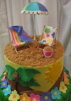 Luau This cake was done for a little girls backyard Luau themed birthday party. The cake is done in buttercream with fondant accents. The &...