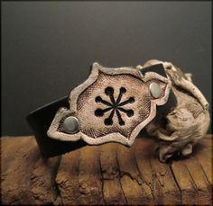 B1227  antiqued snow badge cufflet by Experimetal on Etsy, $24.00