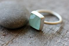 Chalcedony & Sterling Silver Ring Aqua