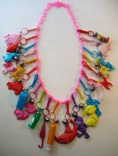 Vintage 80's Plastic Bell Clip Charm Necklace Loaded Retro 1 | eBay