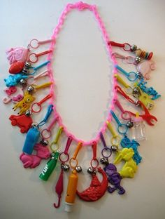 Vintage 80's Plastic Bell Clip Charm Necklace Loaded Retro 1 | eBay