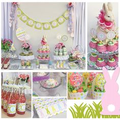 Really like the bunny silhouette cutouts with cotton tails, pink snowballs with jelly beans on top, cupcake holders with jellies and lollipops poking out - she also has a rundown of the amount spent which is great.  She also bought most of the food at the grocery store which I also really like! :)