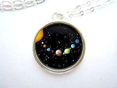 Solar System Pendant - Hand-painted in Oil Enamel - Tiny, Colorful Planets in Outer Space - Silver Pendant