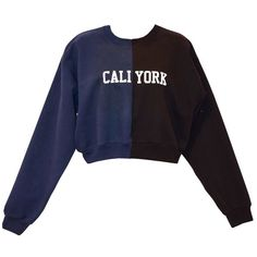 Cynthia Rowley Caliyork Cropped Sweatshirt (650 BRL) ❤ liked on Polyvore featuring tops, crop top, clothes - tops, shirts, sweaters, shirt top, cotton shirts, navy blue crop top, navy crop top and navy shirt