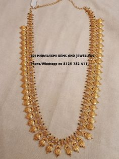 We can get the best finishing in minimum possible weight. Presenting here is Ram Parivar haaram 74 gm Net Gold wt 30 inches total length. Long haaram with Ram parivar kasu hangings. Gold Haram Designs, Gold Mangalsutra Designs, Gold Earrings Designs, Gold Jewellery Design, Gold Jewelry Simple, Bridal Jewelry, Jewels, Fancy, Indian Jewelry