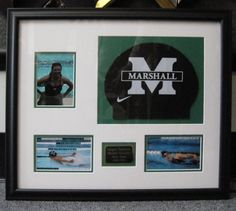 Custom framed swimming gear and photographs. Would be an awesome graduation gift for a swimmer going to college. Night Swimming, Swimming Gear, Girls Swimming, Swim Team Party, Swim Team Gifts, Swim Mom, Swim Team Mom, Gifts For Swimmers, Senior Night Gifts