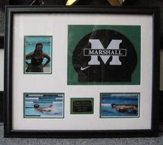 Custom framed swimming gear and photographs. #Art #Framing
