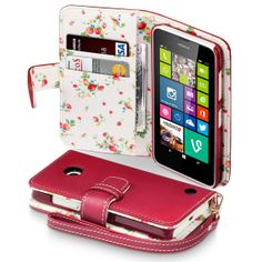 PU Leather Wallet Case for Nokia Lumia 630 635 Red Floral Interior with  Card Slots