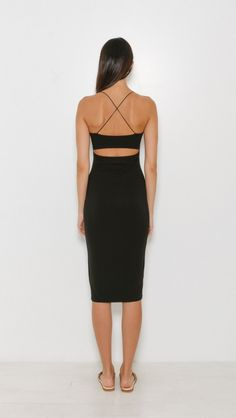 T by Alexander Wang Strappy Cami Tank Dress in Black | The Dreslyn