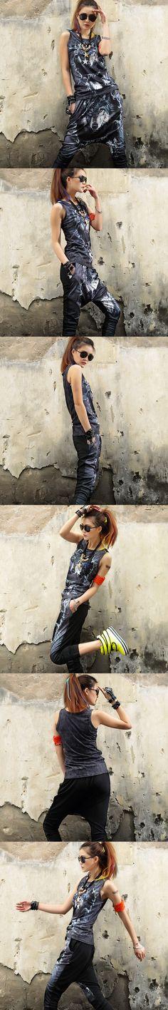Womens two piece set Black Sleeveless Crop top Harajuku print Wolf Fashion 2 set Casual women's tracksuits conjunto moleton