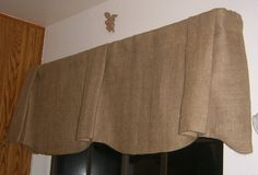 Burlap Scalloped Bottom Pleated Center and Ends Valance with Rod Pocket 48 To 60 inches Kitchen Window Coverings, Kitchen Window Treatments, Kitchen Curtains, Valances & Cornices, Pelmets, Wood Windows, Custom Windows, Burlap Valance, Rustic Valances
