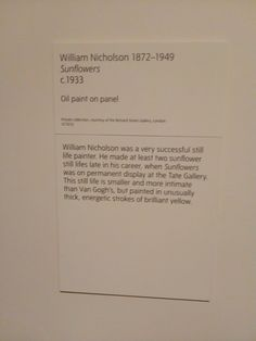 Van Gogh Exhibition, William Nicholson, Tate Britain, Still Life, At Least