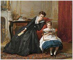 Gustave Leonard de Jonghe (Belgian, 1829-1893) ~ The Embroidery Lesson