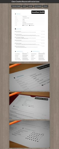Clean Resume Template InDesign Pinterest