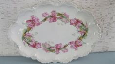 Serving Platter With Pink Iris / Oval Platter Made in by Fiordalis