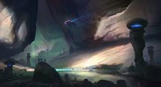 The concept above was done for HALO It was some work for a portion of a level that was ultimately scaled down so the team could execute i. Halo 5, Master Chief, Concept Art, Northern Lights, Sci Fi, Illustration, Fictional Characters, Vehicle, Landscapes