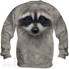 WOMEN'S SWEATSHIRT CREW NECK BIG FACE RACCOON SIZE LARGE  BRAND NEW  #THEMOUNTAIN #SweatshirtCrew