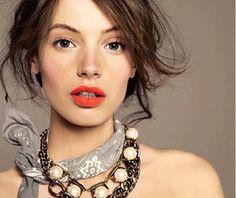 gorgeous lips, bandana and pearls