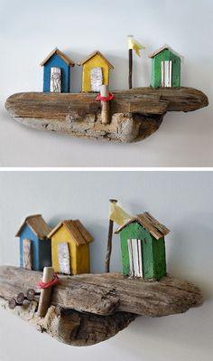 Christine Grandt - Treibholzkunst: maritime Geschenke, Treibholz, Holz Strandhaus Schweden Skandinavien Design Kunst Miniatur Art Skulptur #Holz #Geschenke # Treibholz # Design #Miniaturen #Skulptur