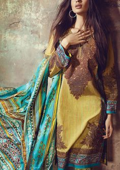 Buy Lime Green Embroidered Woven Dress by Sana Safinaz Eid Collection 2015.