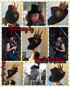 Hand sculpted black felt tilt hat in a vintage inspired style by Lucie's Attic. For bespoke orders email LuciesAtticNottingham@gmail.com
