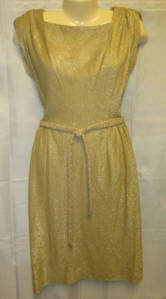 VTG 80's Koret of California Gold Dress Disco Mod Retro Belt Sparkly Cocktail  #Koretofcalifornia #Sheath #Cocktail