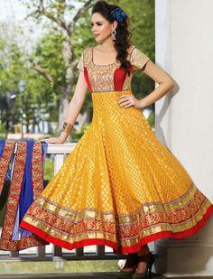 #Golden Chanderi Churidar #Anarkali #Suit with Dupatta | @ $101.75