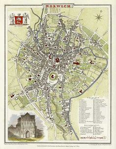 Antique City Map of Norwich England by JRoper Norwich England, Norwich Norfolk, Norfolk England, Fantasy City, Fantasy Map, Vintage Maps, Vintage Travel Posters, Local History, Family History