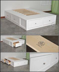hello jo + co Bedroom Furniture Redo, Custom Furniture, Home Bedroom, Diy Bedroom Decor, Home Furniture, Diy Home Decor, Bed Frame Design, Bed Design, Diy Storage Bed