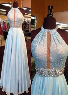 2016 Custom Charming Baby Blue Prom Dress,Sexy