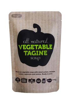Hansells All Natural Vegetable Tagine Soup. Designed by Dan Stephens. #stand #up #pouches for more information visit us at www.coffeebags.co.za