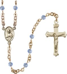 4mm Light Sapphire Swarovski 14Kt Gold Filled Rosary by Bliss | Catholic Shopping .com