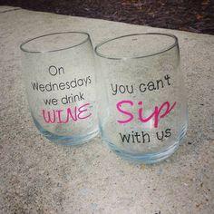 MEAN GIRLS Wine Glass Set // Funny Wine Glass by StellaKayeDesigns