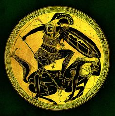Greek warrior and centaur.  Illustration from Greek Vase Paintings by J E Harrison and D S MacColl (T Fisher Unwin, 1894).