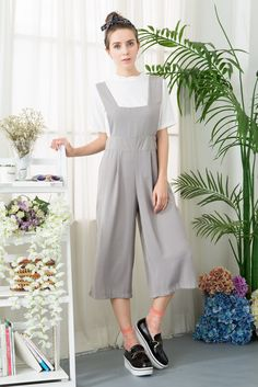 Wide Leg Cropped Jumpsuit With Pinafore | Shalex