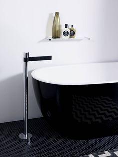 Perini Tiles- Entika black hexagon tiles used for Reece bathrooms