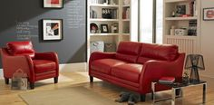 red leather sofa from dfs...