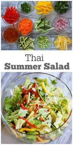 Thai Summer Salad Recipe : an easy, healthy and flavorful salad recipe- all vegetables with a mildly spiced dressing.  Add grilled chicken to turn it into a main dish salad.  Nutritional information and Weight Watcher's points included.