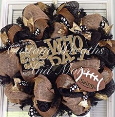 Items similar to New Orleans Saints WHO DAT wreath on Etsy Wreath Crafts, Diy Wreath, Diy Crafts, Wreath Ideas, Saints Wreath, School Wreaths, Halloween Decorations, Christmas Decorations, New Orleans Saints Football