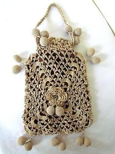 Antique Victorian 1800s Crochet Silk Drawstring Reticule Wedding Purse Bag
