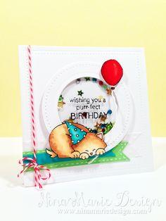 Newton's Birthday | Cat Birthday card by Nina Marie Design | Newton's Birthday Bash Stamp set by Newton's Nook Designs