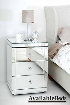Mirrored Furniture Bedside Table cabinet 3 Drawers - (Chelsea range)- LUCIA by AVAILABLEBEDS, http://www.amazon.co.uk/dp/B006EZV0LS/ref=cm_sw_r_pi_dp_9UX1rb0MD6J1H