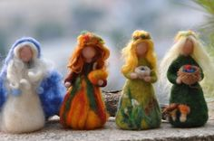 Items similar to Needle Felted Doll Waldorf Wool Fairy-Autumn-Waldorf inspired standing doll-soft sculpture -needle felt by Daria Lvovsky on Etsy Waldorf Crafts, Waldorf Dolls, Wool Dolls, Felt Dolls, Needle Felted, Wet Felting, Felt Angel, Felt Fairy, Nature Table