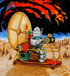The Time Machine and Robby the Robot Robby The Robot, Science Fiction Art, Fiction Movies, The Time Machine, Classic Sci Fi, Animated Cartoons, Sci Fi Fantasy, Victorian Gothic, Horror Art