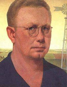 1932 Grant Wood (American regionalist artist, 1891-1942) Self Portrai