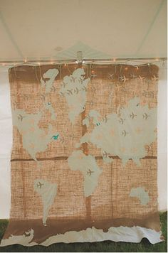 World Map Backdrop Photo by Stone Crandall Photography via Green Wedding Shoes