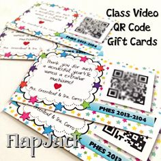 End of the Year Class Video QR Code Gift Cards Template FREEBIE - With a little bit of technology, you can have a very special and inexpensive gift for your students that will remind them of the wonderful memories they had with you for years to come! End Of School Year, End Of Year, Beginning Of School, School Gifts, Student Gifts, School Stuff, Gift Card Template, School Opening, Videos