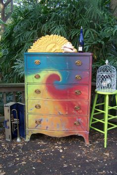 Simple Home Decor Good idea! It adds color to your room with a hippie vibe.Simple Home Decor Good idea! It adds color to your room with a hippie vibe Funky Furniture, Furniture Makeover, Painted Furniture, Painted Armoire, Painted Chest, Black Furniture, Antique Furniture, My New Room, My Room